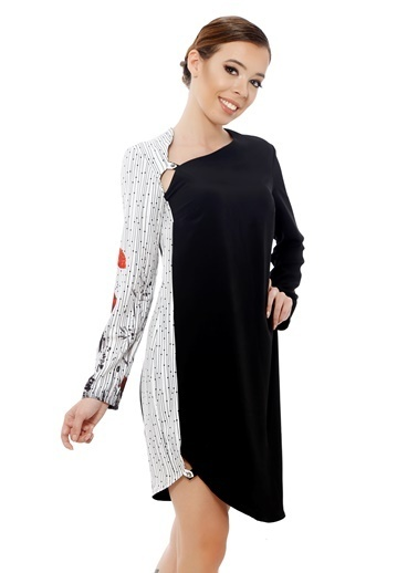 Soie Design Düğmeli Tablo Baskılı Elbise Siyah